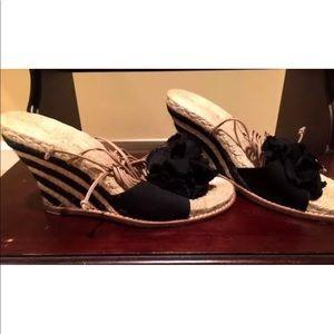 Shoes - Black lace up wedges